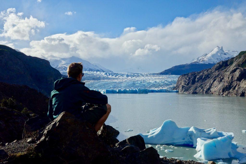 Ben sat looking over Glacier grey Torres del Paine