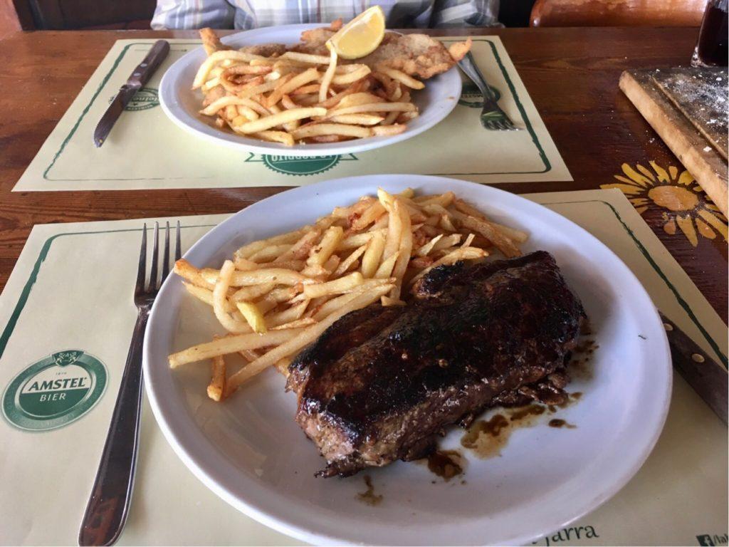 Steak and Milanesa in Argentinan restaurant, Buenos Aires